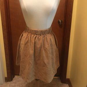 Suede Elastic Waist Skirt with zip pockets, M